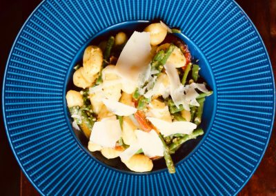 food on blue plate image1